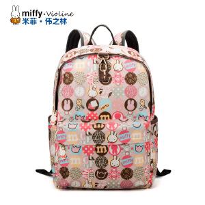 Miffy米菲 新款 休闲百搭复古双肩包 防水潮男女背包小清新旅行包学生书包