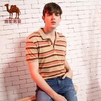 骆驼CAMEL男装 新款男士翻领条纹T恤 商务休闲短袖T恤