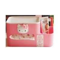 陆捌壹肆  HELLO KITTY凯蒂猫创意纸巾盒抽纸盒 多功能塑料办公桌面收纳盒(一个装)
