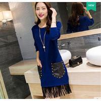 新款韩版中长款宽松显瘦流苏连衣裙打底衫个性时尚修身套头毛衣女