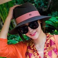 新款款羊毛呢帽子M字母韩版礼帽复古英伦风毡帽