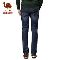 骆驼男装 秋冬百搭微弹长裤 加绒加厚中高腰直筒牛仔裤男