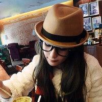 英伦风格卷边羊毛呢礼帽韩版女士爵士帽子 女帽