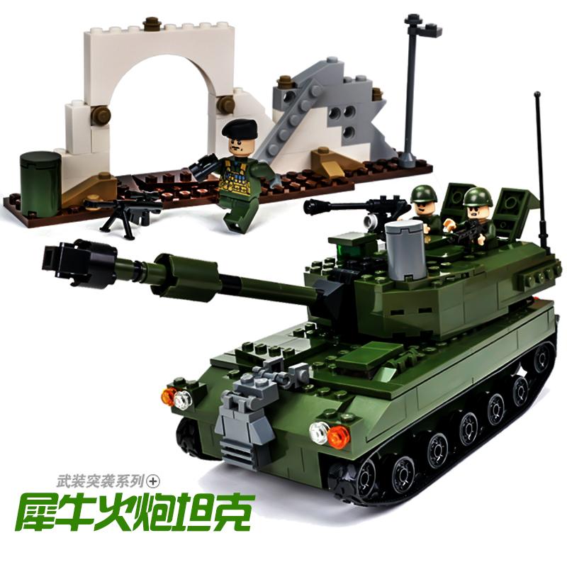 包邮哦古迪军事飞机拼装积木犀牛火炮战斗机玩具儿童益智6-8-10岁以上