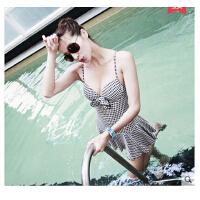 时尚性感泳衣 新款情侣游泳衣钢托大胸聚拢连体沙滩保守温泉泳装性感显瘦