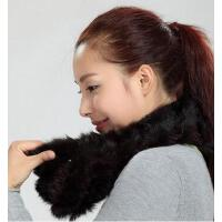 时尚个性套头加厚针织保暖兔毛围巾女围脖韩国皮草棉麻毛线纯色