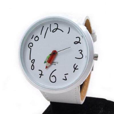 女士时尚手表学生表可爱卡通铅笔指针时装表女表 大表盘_白色