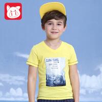小猪班纳童装2017夏装新款中大童圆领儿童上衣 夏季男童短袖T恤