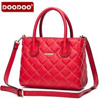 【支持礼品卡】DOODOO 2017新款包包女包手包菱格时尚包包手提单肩斜跨女士包包 D5033