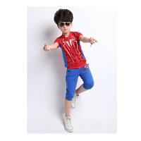 童装夏装 儿童短袖蜘蛛侠童装套装 夏季卡通短袖t恤套装