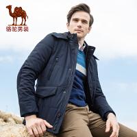 骆驼男装 冬款新品青年中长款可脱卸帽商务绅士休闲外套棉服