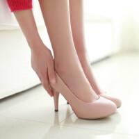 【支持礼品卡支付】女鞋韩版高跟鞋时尚简约超高跟鞋浅口圆头细跟女鞋子甜美公主鞋单鞋
