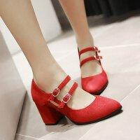 【支持礼品卡支付】女高跟鞋复古搭扣浅口鞋尖头皮带扣绒面女鞋子粗跟鞋女单鞋