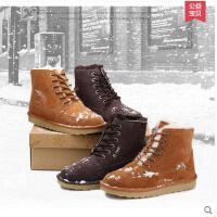 IVG 新款雪地靴子男士棉靴平底保暖皮毛一体防滑户外休闲鞋潮0075
