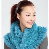 时尚个性兔毛围巾女士皮草针织流苏纯色女韩国围脖套头披肩