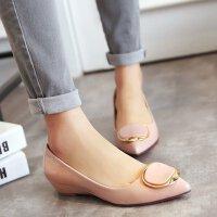 女浅口鞋尖头鞋低跟职业工作鞋女鞋子小坡跟方扣女单鞋