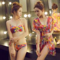 女士时尚比基尼泳衣 三件套小胸聚拢钢托大胸性感泡温泉bikini泳装