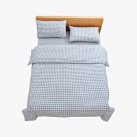 当当优品家纺 纯棉日式色织水洗棉床品 1.8米床 床笠四件套 格子钴蓝