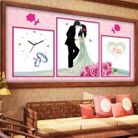 悟客/wuke 精准印花十字绣幸福的约定三联画 客厅新款卧室婚房钟表 结婚喜庆人物挂钟时钟婚礼系列