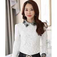 新款韩版女装雪纺衫上衣女装长袖蕾丝打底衫潮
