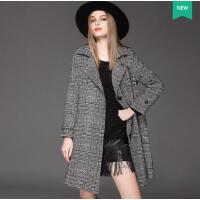 大码风衣新款胖mm 格子长款茧型加厚女装休闲外套潮