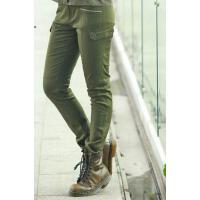 个性时尚水洗紧身t弹力小脚工装裤女士户外休闲裤  多口袋战术军裤