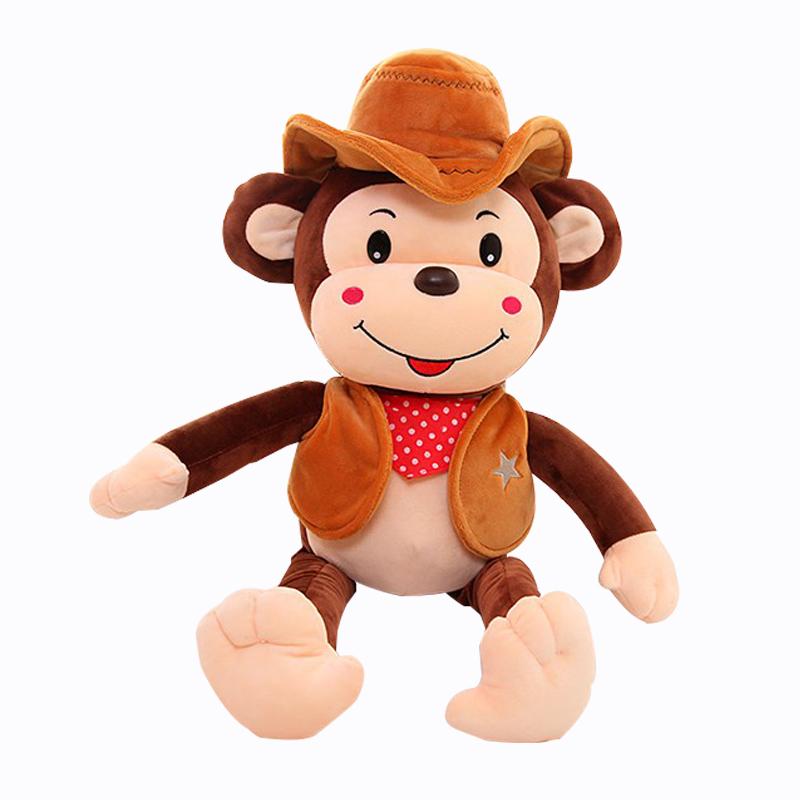 可爱猴子公仔毛绒玩具大嘴猴布娃娃牛仔生肖猴玩偶生日礼物送女生猴年