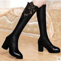 古奇天 伦尖头防水台长靴长筒靴高筒靴蕾丝高跟女靴过膝女靴子8290