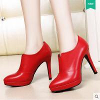 新款尖头高跟女鞋单鞋女细跟女士皮鞋英伦婚鞋新娘鞋 3011
