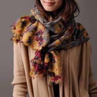 女士时尚围巾 天羊毛两用韩版保暖百搭百变印花长款
