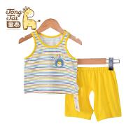 童泰新款夏装 宝宝纯棉背心短裤套装婴儿吸湿透气吊带短裤两件套