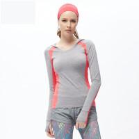 跑步新款女上衣瑜伽服休闲款紧身运动长袖T恤