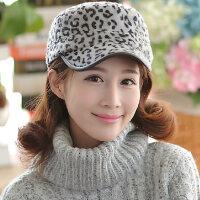韩版男女帽子 潮人豹纹毛绒棒球帽 珊瑚绒平顶
