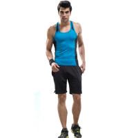 男士健身服 休闲运动套装 男士健身教练紧身衣排汗背心套装