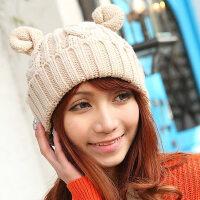 韩版麻花牛角毛线帽 翻边套头可爱绒线帽 保暖女帽