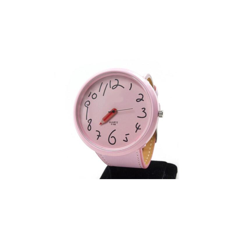 女士时尚手表学生表可爱卡通铅笔指针时装表女表 大表盘_浅粉色
