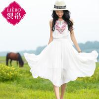 裂帛2017夏季新款刺绣无袖A型不规则摆雪纺连衣裙女51151538