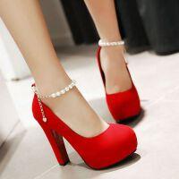 超高跟鞋粗跟鞋优雅圆头防水台婚鞋红色新娘鞋单鞋