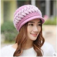 时尚甜美新款帽子女 韩版兔毛帽鸭舌贝雷帽保暖针织毛线帽