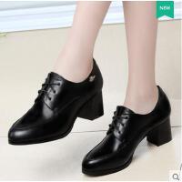 新款女鞋子深口单鞋女粗跟高跟女士皮鞋英伦风黑色春款 6507