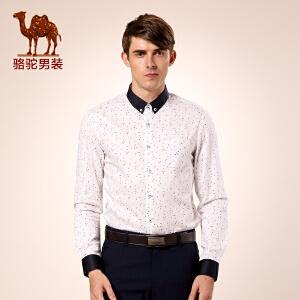 骆驼男装 秋季新款男士印花衬衫 修身长袖日常休闲衬衣男