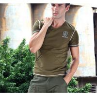 新款透气运动男装 户外休闲上衣 军迷服饰 军绿色t恤短袖
