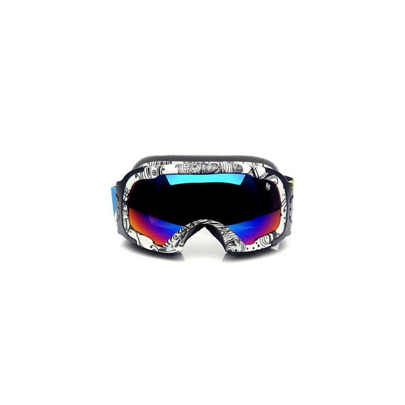 新款户外实用双层防雾 滑雪眼镜 时尚球面小脸型滑雪镜_黑白纹