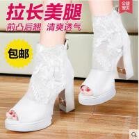 新款女子单鞋鞋欧美蕾丝中筒马丁靴英伦女士靴子粗跟踝鞋8000-1