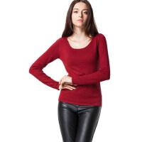 女士时尚针织衫红色上衣修身T恤圆领套头薄款 毛衣简约低领打底衫
