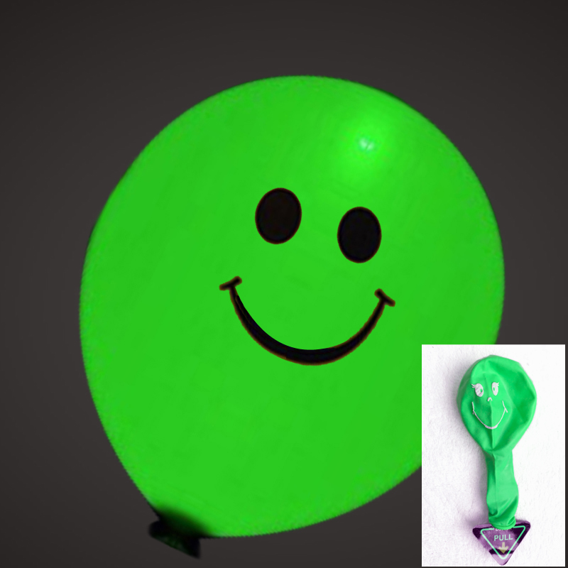 生日婚庆气球 结婚婚礼用品礼品 婚房装饰布置创意_绿色黑白笑脸(随机