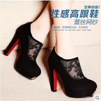 莫蕾蔻蕾  新款英伦范蕾丝高跟鞋粗跟女鞋低帮鞋单鞋203-5