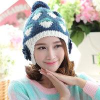 韩版草莓毛球毛线帽 套头绒线帽 保暖球球女帽