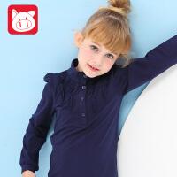 小猪班纳童装女童樽领长袖针织T恤衫2017秋装新款儿童纯色上衣潮