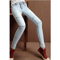 时尚个性铅笔裤潮韩版女装女士显瘦薄款小脚裤拼接欧洲站牛仔长裤